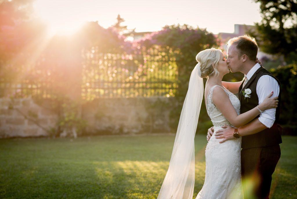 Couple wedding portrait shots at sunset in Italy.
